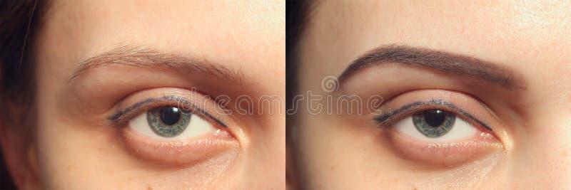 Perfect brwi Przedtem Po, dwa oka obrazy stock