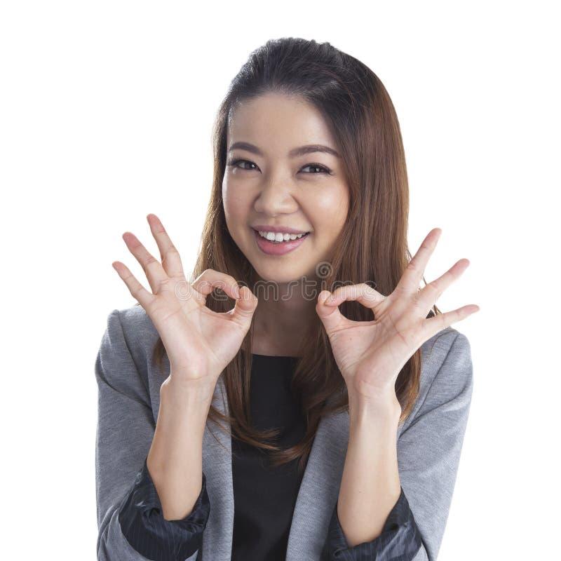 Perfect - business woman OK sign stock photos