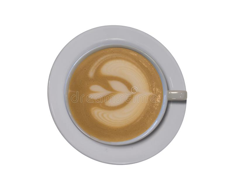 Perfect cappuccino with latte art tulip design isolated on white royalty free stock photography