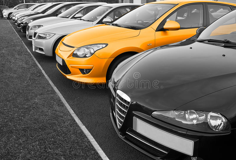 Perfect car selection. The perfect new car of your choice. Selected from a row of different european marques of used cars for retail sale on a motor dealers stock photo