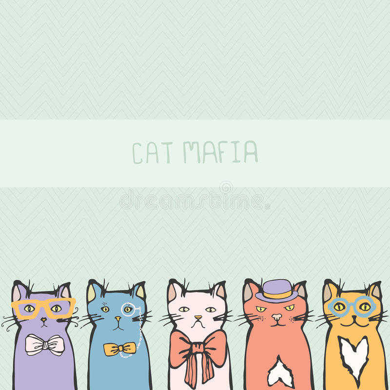 Perfect card with hand drawn cute kittens stock illustration