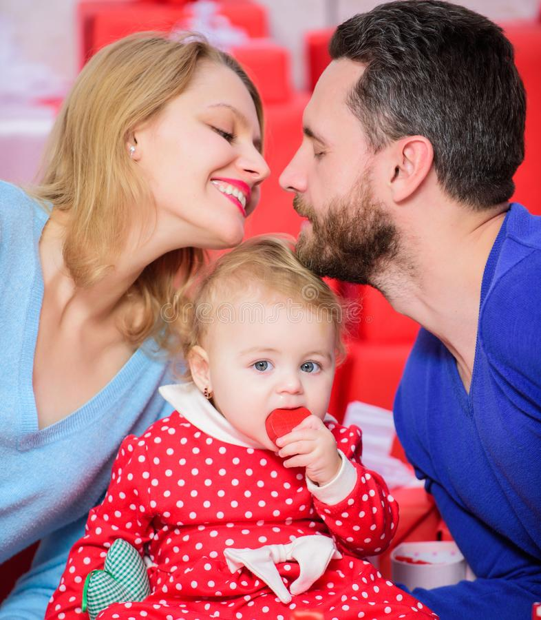Perfect celebration. Family celebrate their love. Romantic couple in love and baby girl. Valentines day concept royalty free stock image
