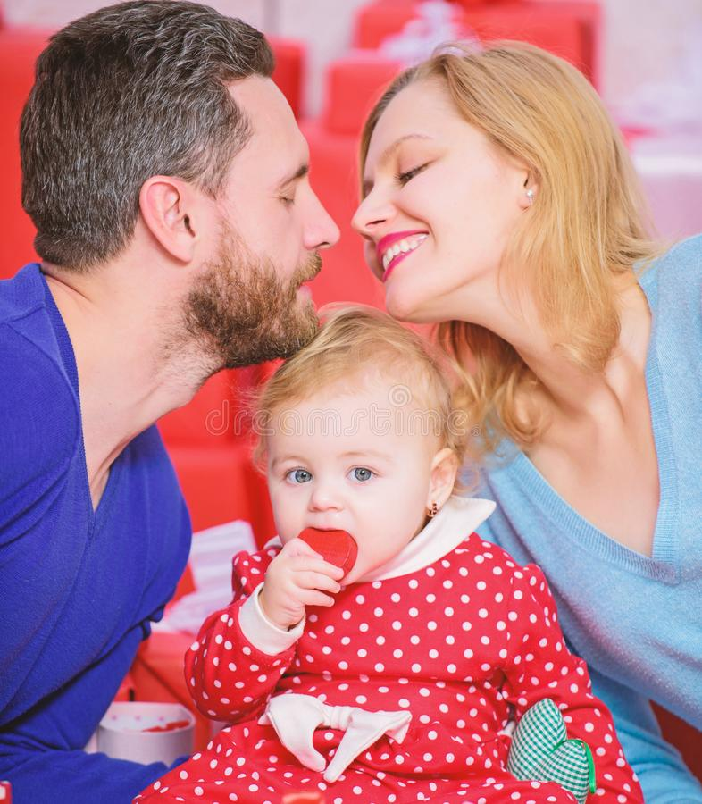 Perfect celebration. Family celebrate their love. Romantic couple in love and baby girl. Valentines day concept royalty free stock photos