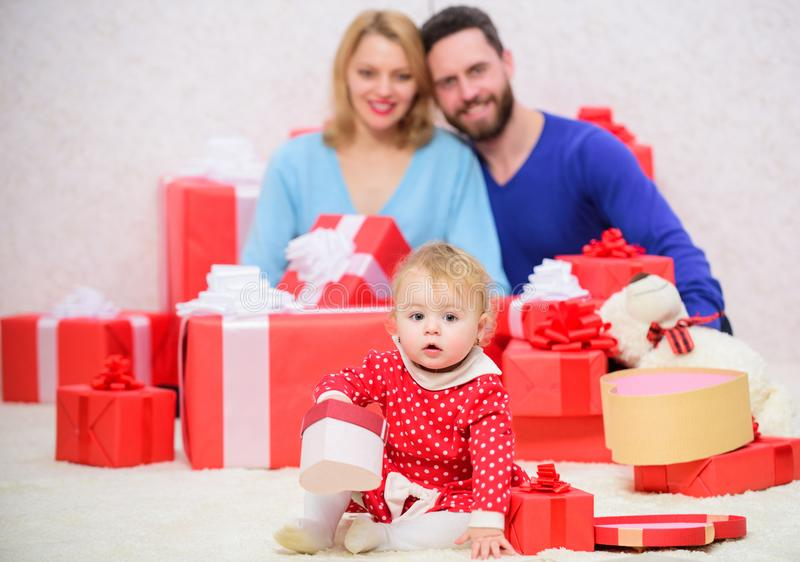 Perfect celebration. Valentines day. Red boxes. Love and trust in family. Bearded man and woman with little girl. father stock images