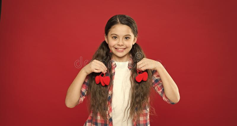 Perfect celebration. Valentines day. Red color. Small girl with cute look. happy little girl. Love and family. Childhood royalty free stock photos