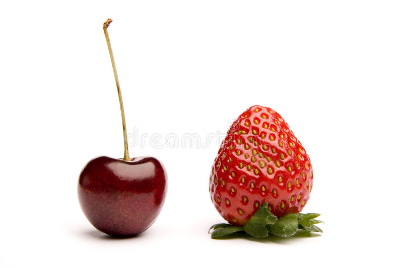 Perfect cherry and strawberry stock image