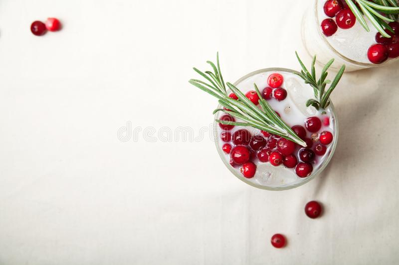 Perfect christmas cocktail: coconut margarita with cranberries and rosemary royalty free stock photography