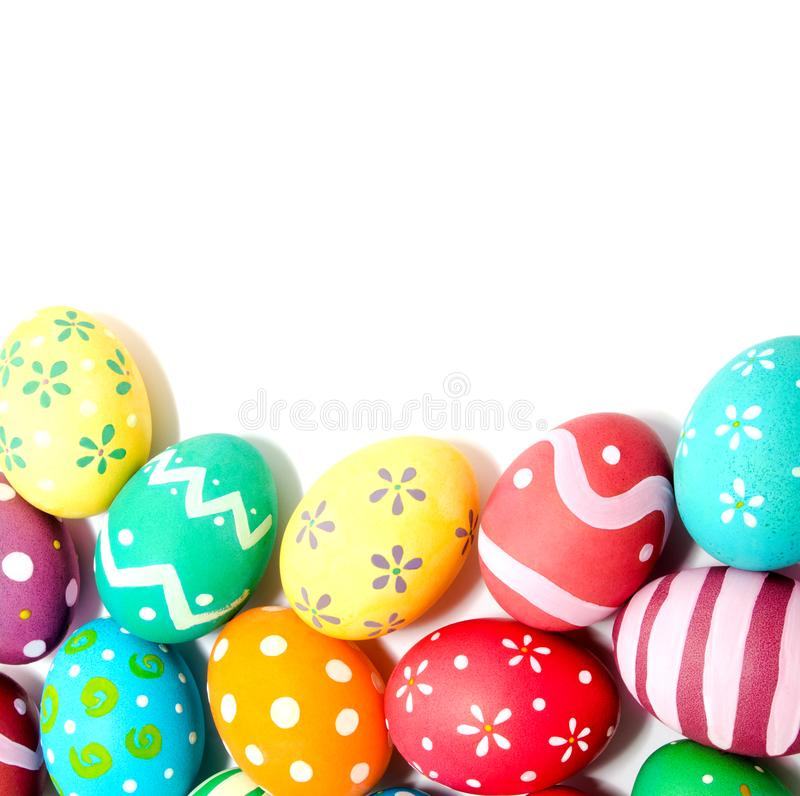 Perfect colorful handmade easter eggs isolated. Over white royalty free stock image