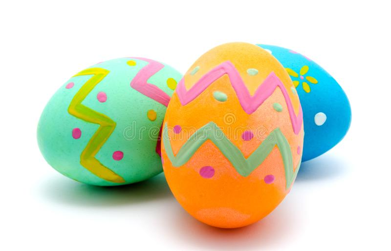 Perfect colorful handmade easter eggs isolated stock photography