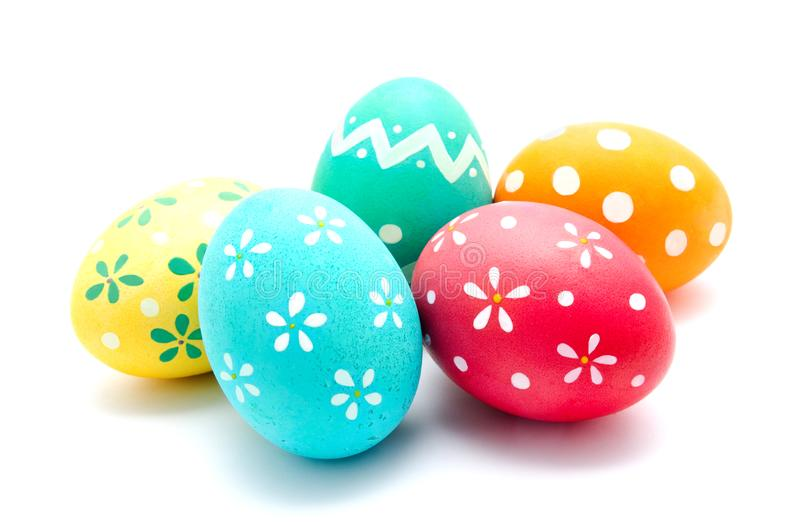 Perfect colorful handmade easter eggs isolated. On a white stock photo