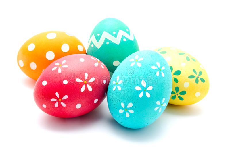 Perfect colorful handmade easter eggs isolated. On a white royalty free stock photos