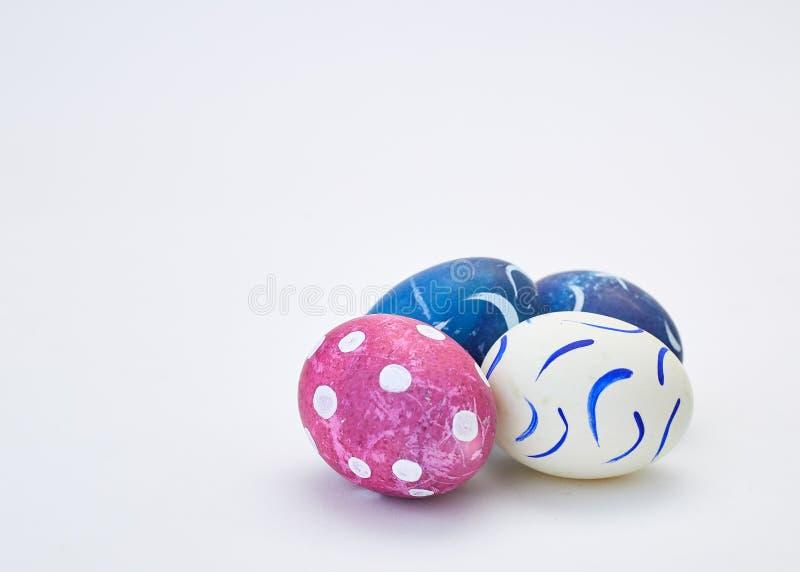 handmade easter eggs on white stock photo