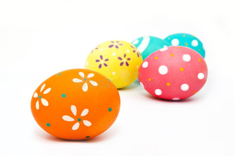 Perfect colorful handmade painted easter eggs isolated. On a white background royalty free stock photos