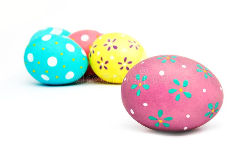 Perfect colorful handmade painted easter eggs isolated. On a white background stock image