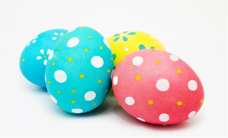 Perfect colorful handmade painted easter eggs isolated. On a white background stock images