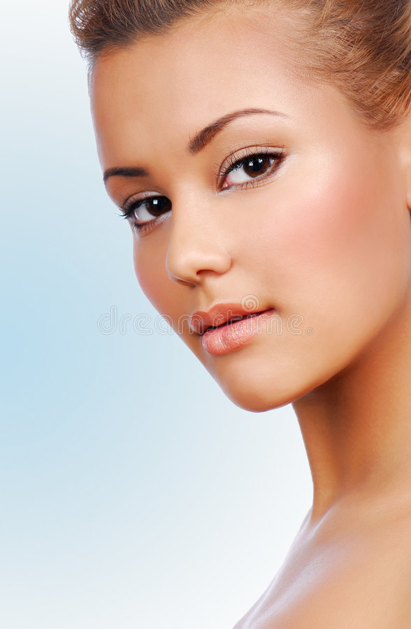 Perfect complexion. Portrait of sensuality young beautiful woman with perfect complexion stock images
