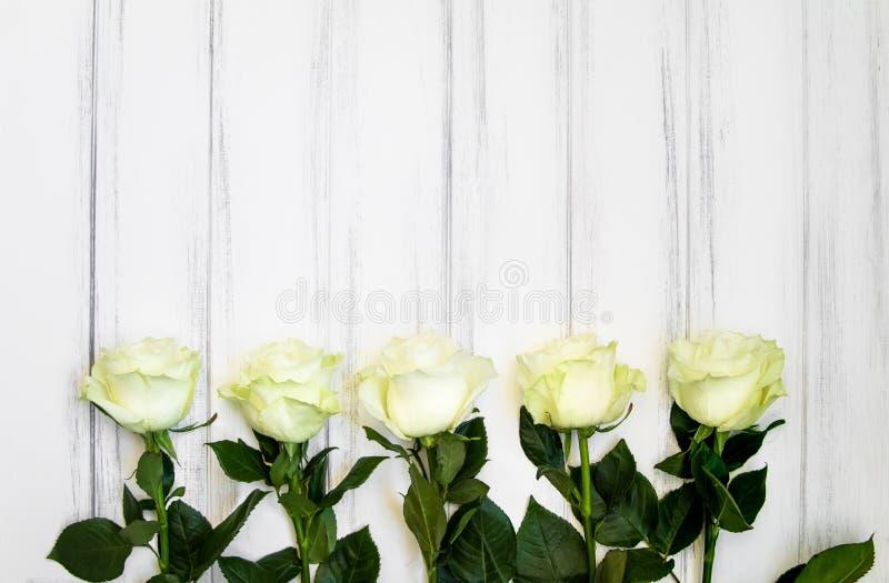 Perfect creme luksusowe róże na tabcke dla poślubiać, urodziny lub walentynki ` s, dzień Odgórny widok fotografia stock