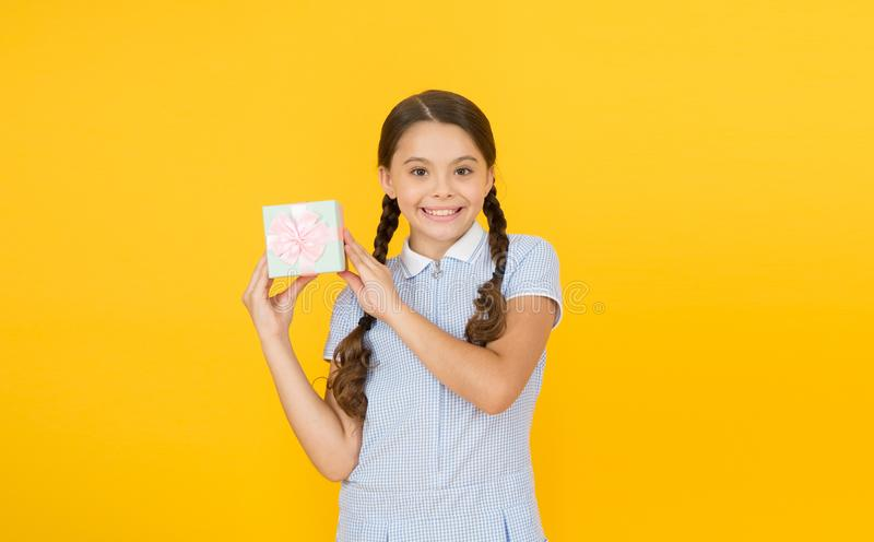 Perfect day. boxing day. international childrens day. Holiday concept. retro girl give present box. happy child in royalty free stock images