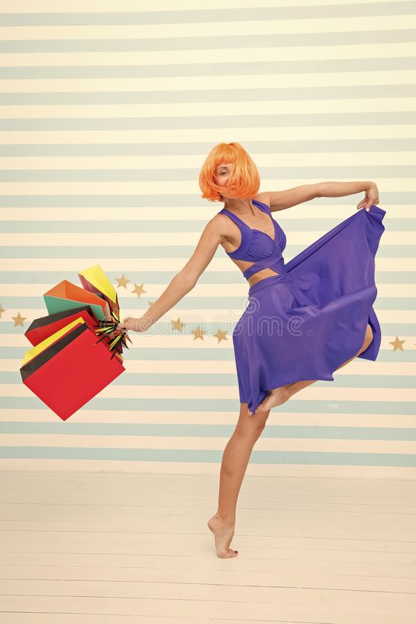 Perfect day. Happy shopping online. Happy holidays. Crazy girl with shopping bags. happy woman go shopping. Last royalty free stock photos