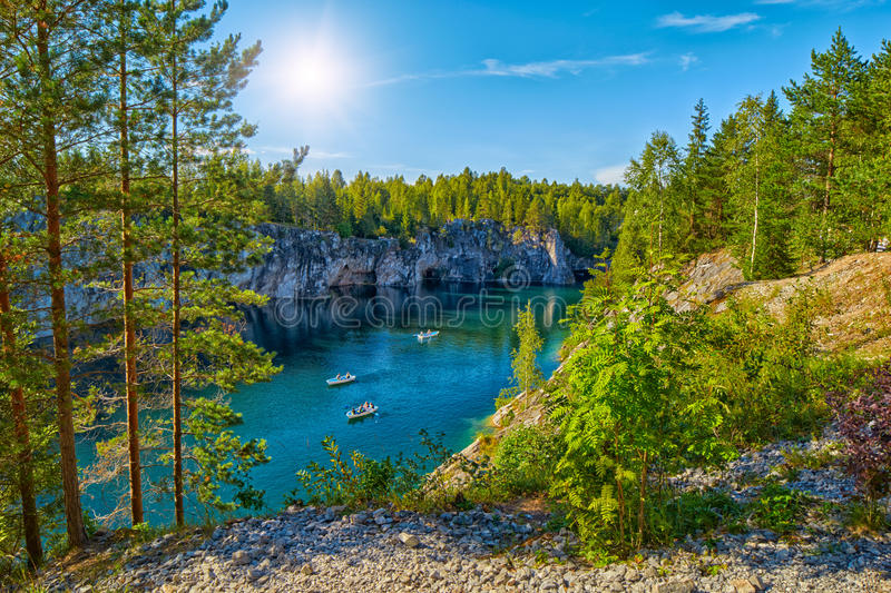 Perfect day in Marble Canyon in Karelia. Perfect Sunny Day in Marble Limestone Canyon in Karelia, Russia stock photography