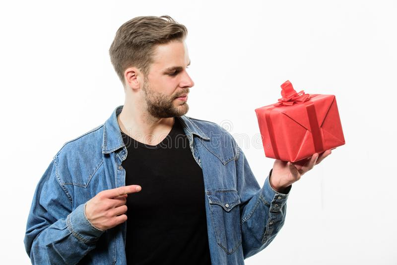 Perfect day. Romantic greeting. Boxing day. Handsome macho man. Love date. unshaven man with present box. Valentines day. Gift. Male fashion. Happy birthday stock photography