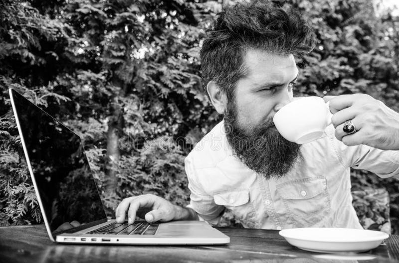 Perfect deal. office worker. Successful businessman. brutal bearded hipster at coffee break. happy man working on laptop. Agile business. Business success stock photo