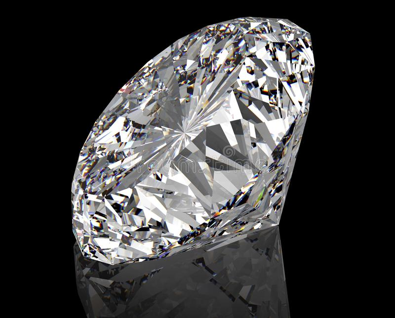 Perfect diamond isolated on black royalty free stock photos