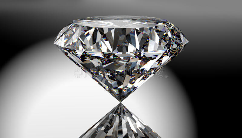Perfect diamond isolated on shiny background with clipping path royalty free illustration