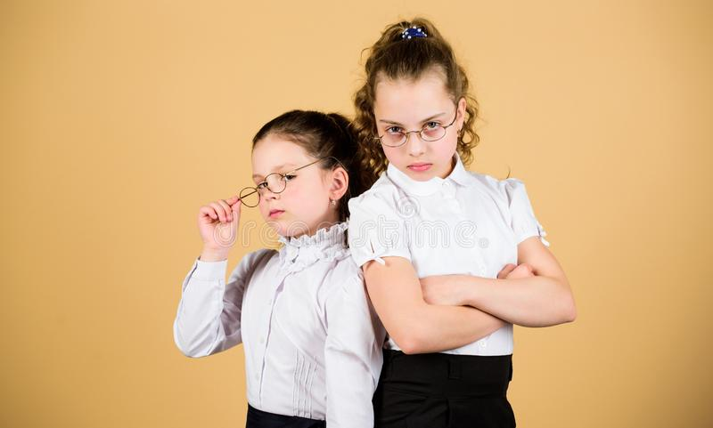 Perfect and diligent concept. Education is what remains after one has forgotten what one has learned in school. Girls royalty free stock photos