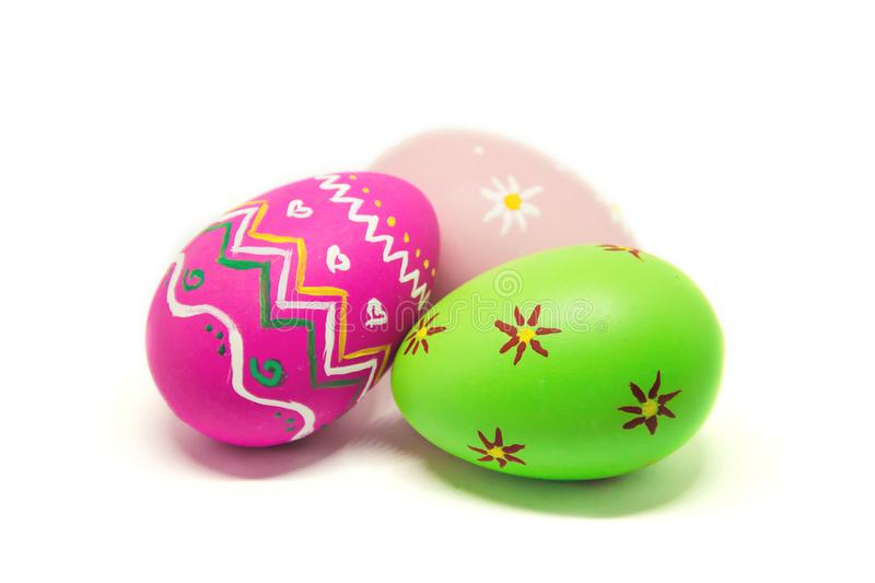 Perfect Easter eggs Hand Made. On white isolated background. royalty free stock photography