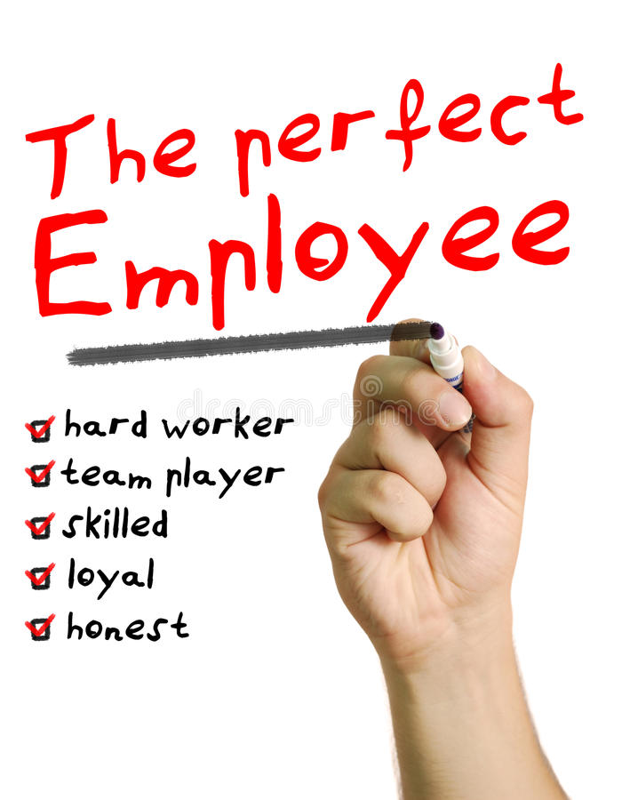 The perfect employee. A man creates a list of very important qualities of the perfect employee such as: hard worker, team player, skilled, loyal and honest stock image