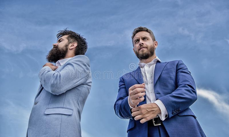 Perfect in every detail. Impeccable appearance improves reputation professional entrepreneur. Bearded entrepreneurs. Posing confidently bottom view. Business royalty free stock photos