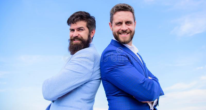 Perfect in every detail. Well groomed appearance improves business reputation entrepreneur. Business people concept. Bearded business people posing confidently stock photo