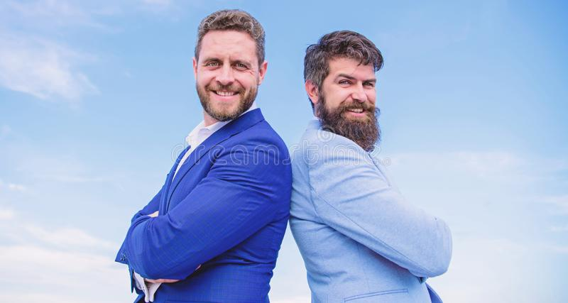 Perfect in every detail. Well groomed appearance improves business reputation entrepreneur. Business people concept. Bearded business people posing confidently royalty free stock photo