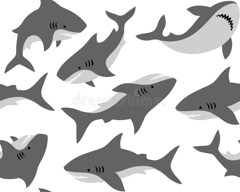 Hand drawn vector seamless pattern with cute sharks on white background. royalty free illustration