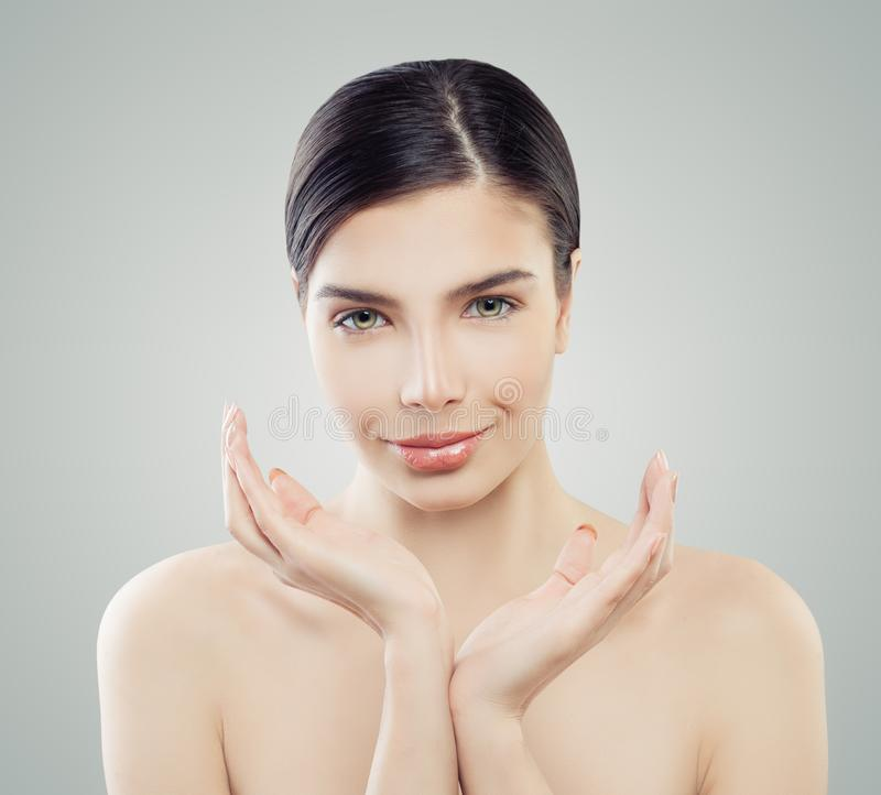 Perfect famale face, spa beauty. Facelift, skincare. Facial treatment and wellness concept royalty free stock image