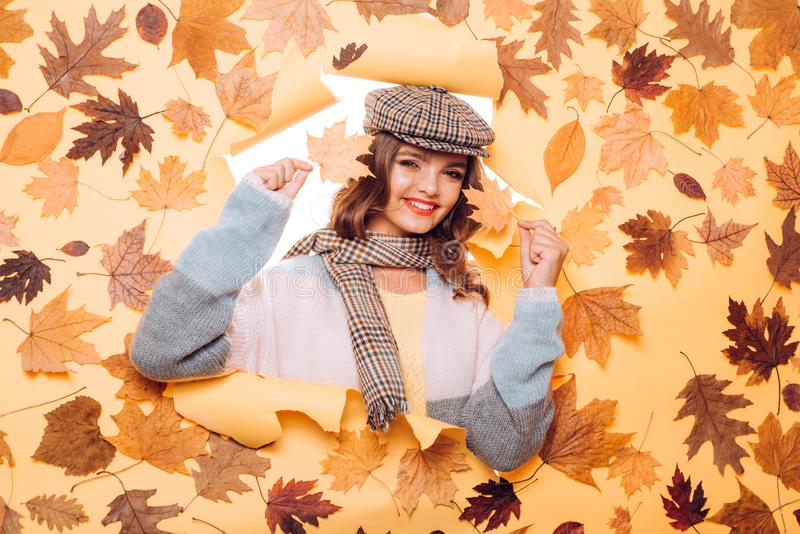 Perfect fashion accessories for autumn. Pretty woman wear autumn fashion accessories. Casual fashion trends for fall stock photos