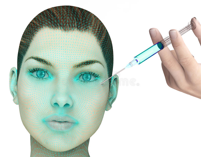 Perfect female face with injection needle isolated. On white stock illustration