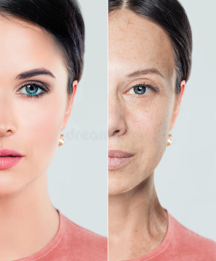 Perfect female face with problem and clean skin royalty free stock photo