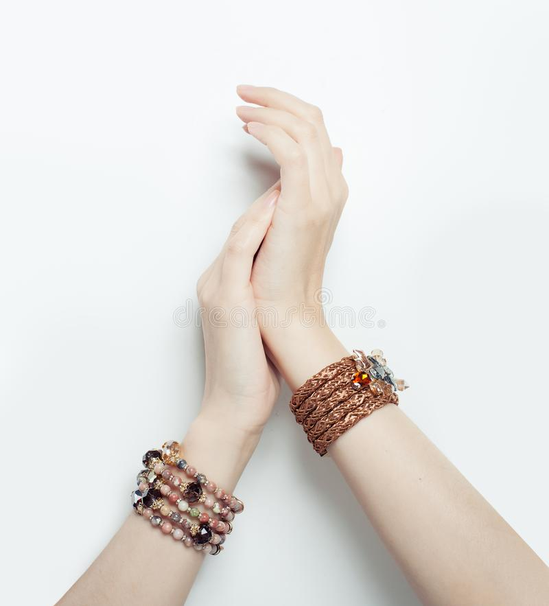 Free Perfect Female Hands With Gold Jewelry Bracelet Royalty Free Stock Images - 130529249