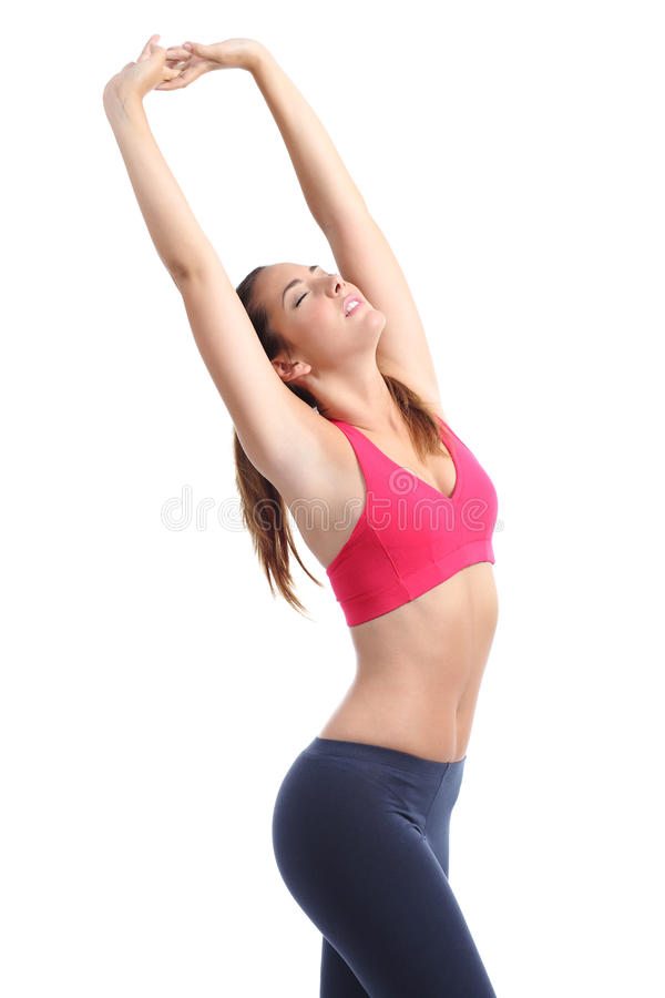 Perfect fitness woman body posing stretching. Isolated on a white background stock image