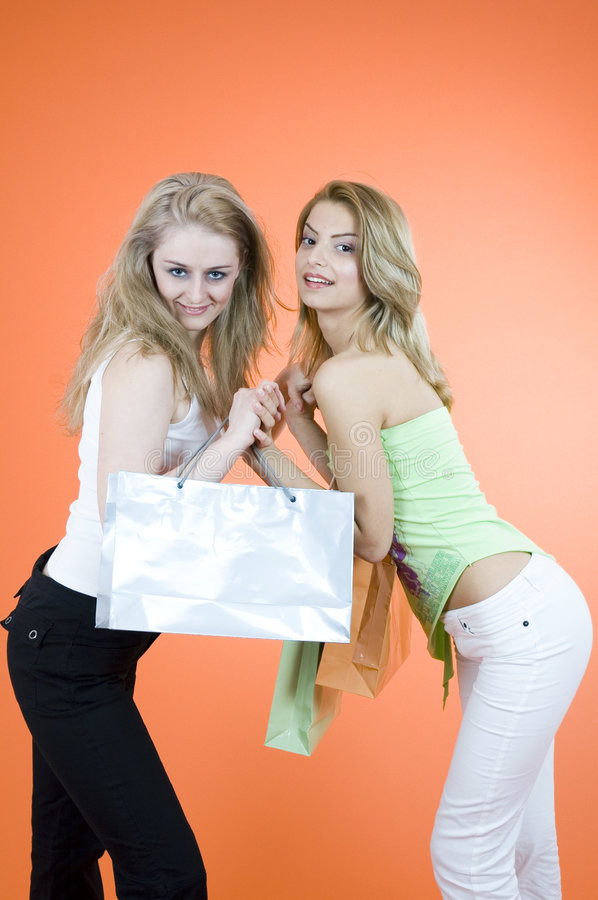 The Perfect Gift. Two woman shopping for the perfect gift royalty free stock image