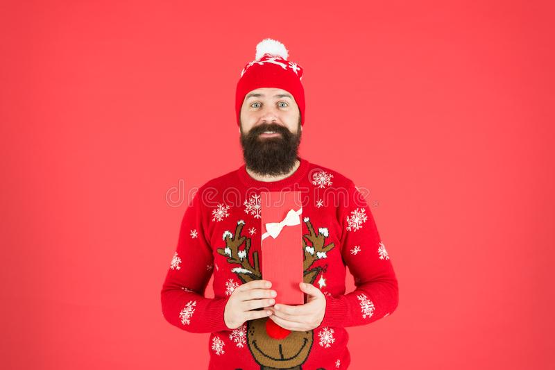 Perfect gift. Santa Claus wishes Merry Christmas. happy new year 2020. Portrait of positive bearded man feel festive stock photos