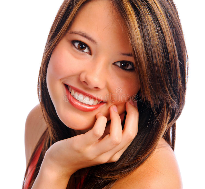 Perfect girl smile stock photos