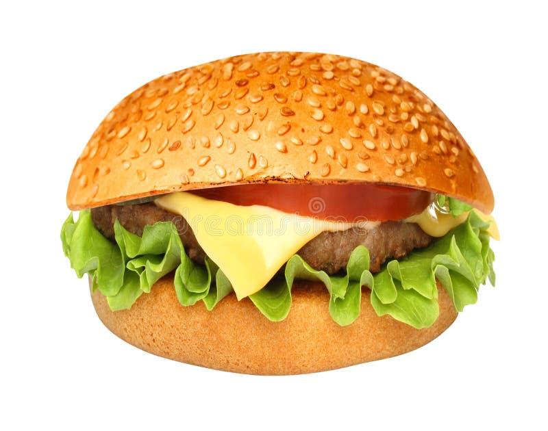 Perfect hamburger classic burger american cheeseburger isolated. On white stock photo