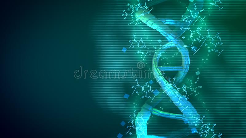 Perfect Helix DNA spinning around its axle royalty free illustration