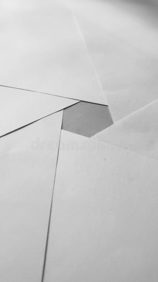 A perfect hexagon arranged using paper stock photo