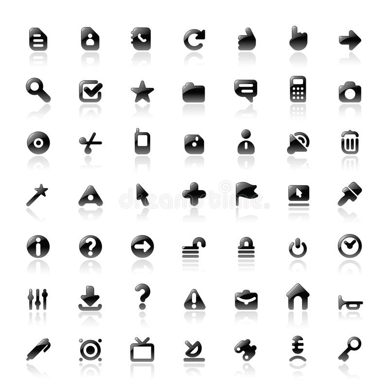 Perfect icons for interface. Perfect designer icons for computer interface. Main shape, highlights and reflection are in separate layers stock illustration