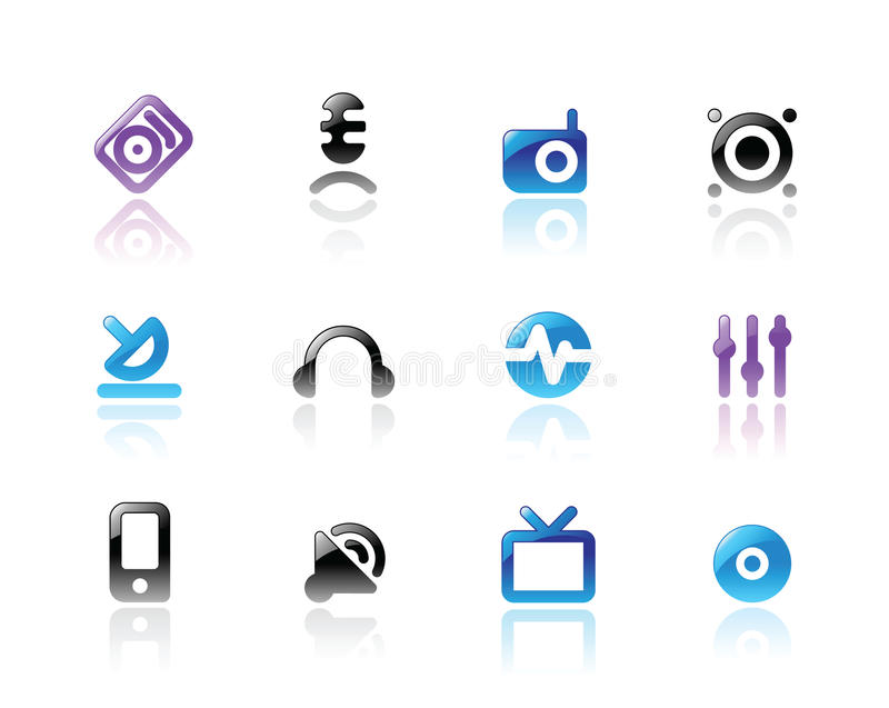 Download Perfect Icons For Media And Sound Stock Vector - Image: 13655959
