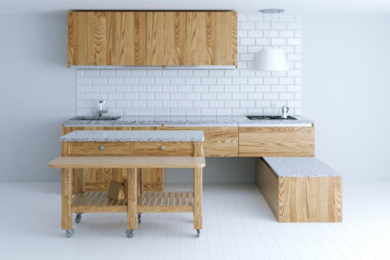 Perfect idee voor keuken binnenlands ontwerp met houten meubilair stock afbeelding